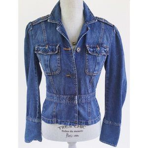 RARE! AEO Puff Shoulder Peplum Denim Jacket  XS